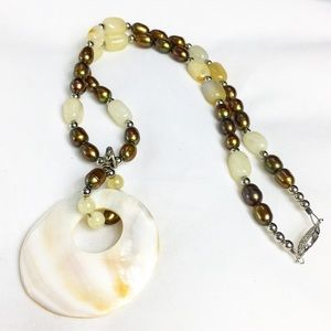 Shell, Stone & Pearl Beaded Necklace